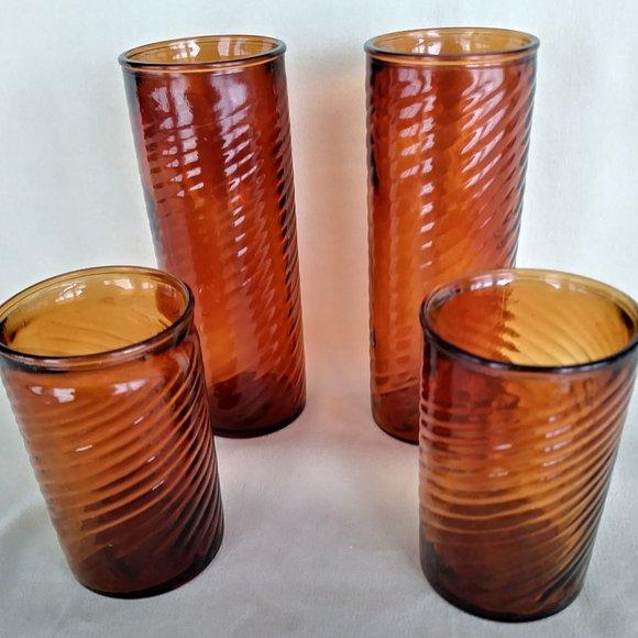 Amber Swirled Glasses Ice Tea  Juice Handblown